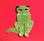 Soft Green Cat Brooch by Lea Stein of Paris -  Quarrelsome Cat (SOLD)